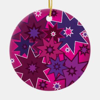 Fun Girly Pink Purple Star Pattern Ceramic Ornament