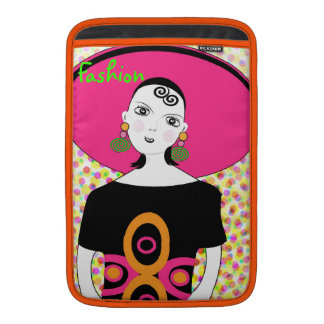 Fun Girly Retro Fashion Illustration MacBook Sleeve