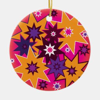 Fun Girly Star Pattern Pink Orange Purple Ceramic Ornament