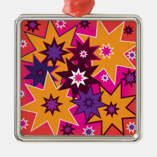 Fun Girly Star Pattern Pink Orange Purple Metal Ornament
