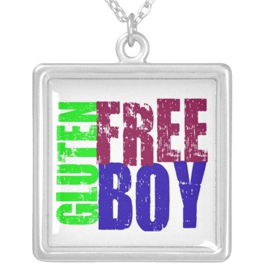 Fun Gluten Free Boy Art Silver Plated Necklace