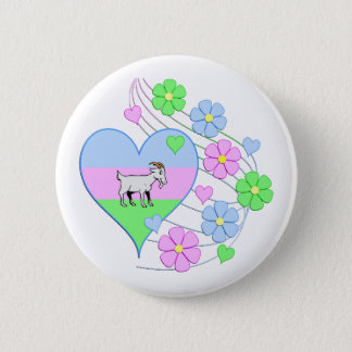 Fun Goat Heart Pinback Button
