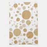 Fun Gold Champagne Bubbles Pattern Kitchen Towel