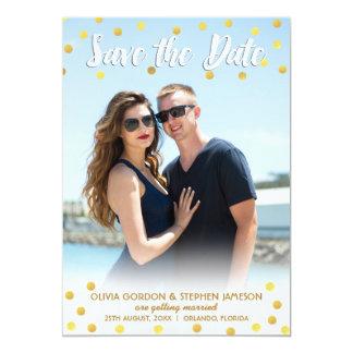 Fun Gold Confetti Save The Date Wedding Photo Card