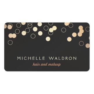 Fun Gold Foil Confetti Look Makeup Artist Black Business Card