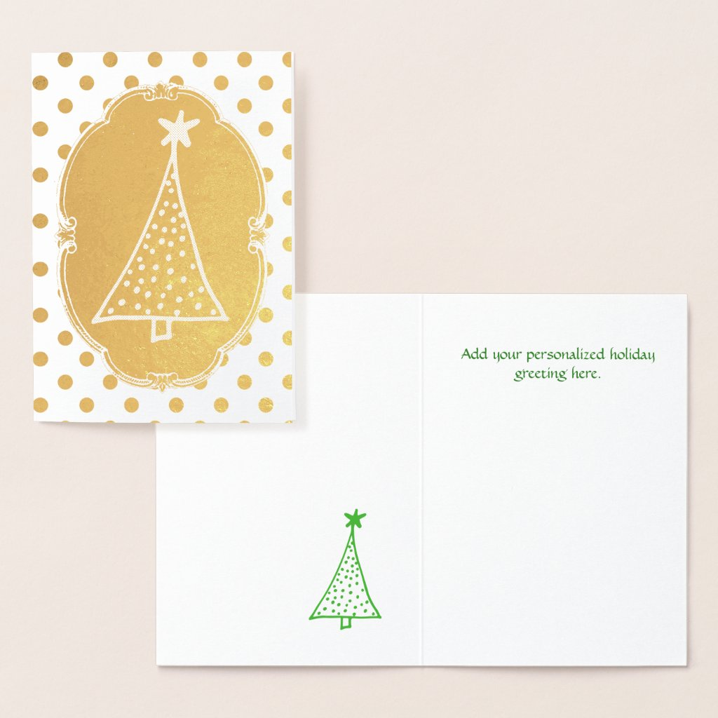Fun Gold Foil Polka Dot Christmas Card