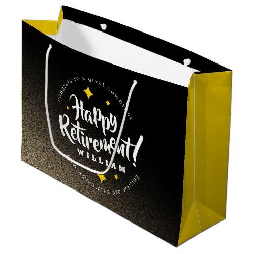 Fun Gold Glitter Stars Retirement New Adventures Large Gift Bag