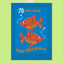 Fun Goldfishes Pisces 70th Birthday Card