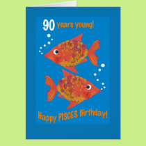 Fun Goldfishes Pisces 90th Birthday Card