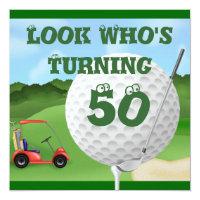 Fun Golf  50th Birthday Invitations