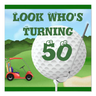 """Fun Golf  50th Birthday Invitations 5.25"""" Square Invitation Card"""