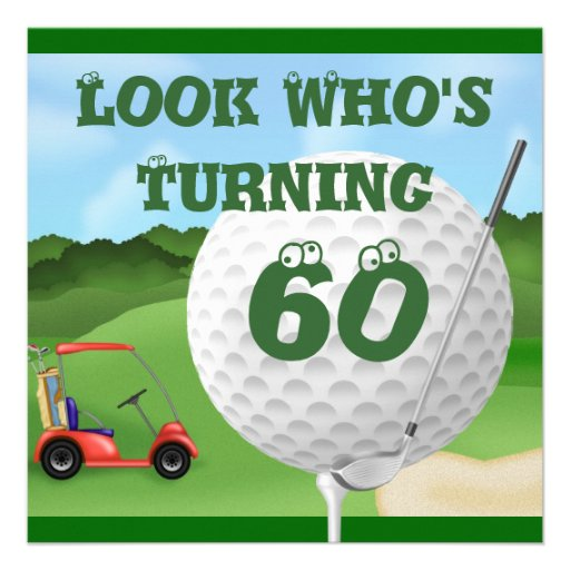 Happy birthday golf cards 60th birthday golf party ideas 60th birthday - Fun Golf 60th Birthday Invitations Template 5 25 Quot Square