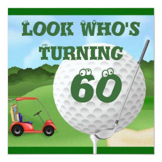 """Fun Golf  60th Birthday Invitations TEMPLATE 5.25"""" Square Invitation Card"""