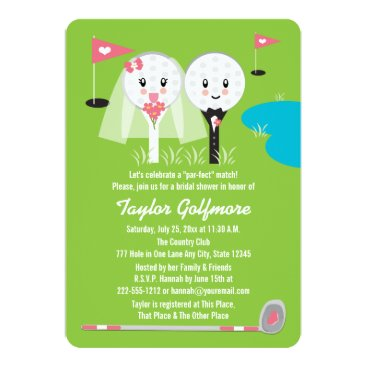 Valentines Themed Fun Golf Ball and Tee Bride Groom Bridal Shower Card