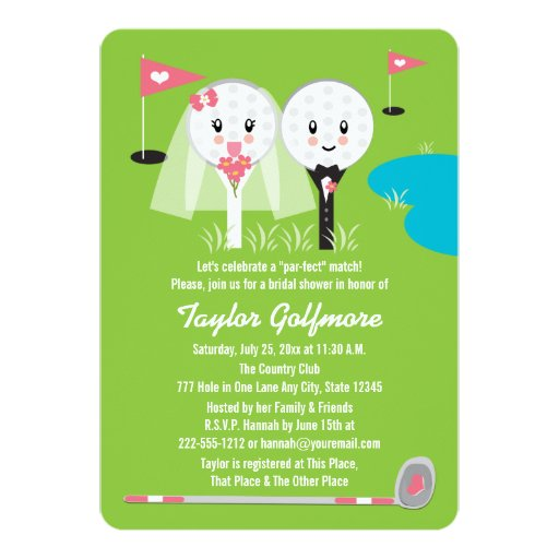Fun Golf Ball and Tee Bride Groom Bridal Shower Card