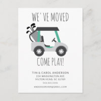 Fun Golf Cart Moving Announcement Card
