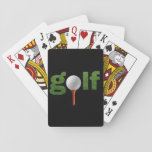 "Fun Golf Sports Design Playing Cards<br><div class=""desc"">A fun sports design for the golfer on a cool white or black background,  the word golf written in typographic letters filled with beautiful green grass,  the &quot;O&quot; is a golf ball on a red tee.</div>"