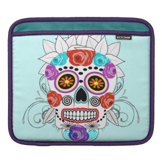 Fun Goth Sugar Skull and Roses Design Sleeve For iPads