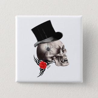 Fun Gothic skull  tattoo style Button