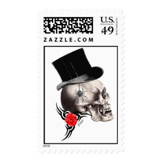 Fun Gothic skull  tattoo style Postage