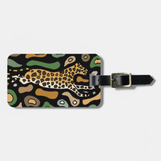 Fun Graceful Leaping Leopard Abstract Travel Bag Tags
