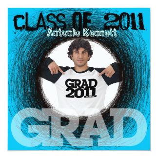 Fun Graduation Invitation Blue Scratch Round