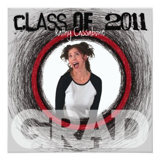 Fun Graduation Invitation Grey Scratch Round