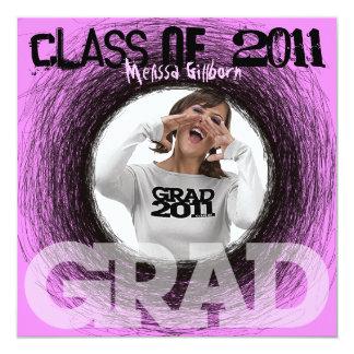 Fun Graduation Invitation Pink Scratch Round