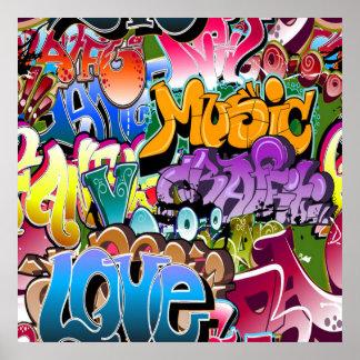 Fun Graffiti word art home decor poster