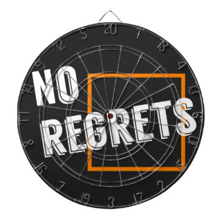 """Fun Graphic Quote """"No Regrets"""" Typography Text Dart Board"""