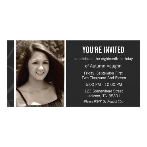 Fun Gray Design Birthday Photo Card Invitations