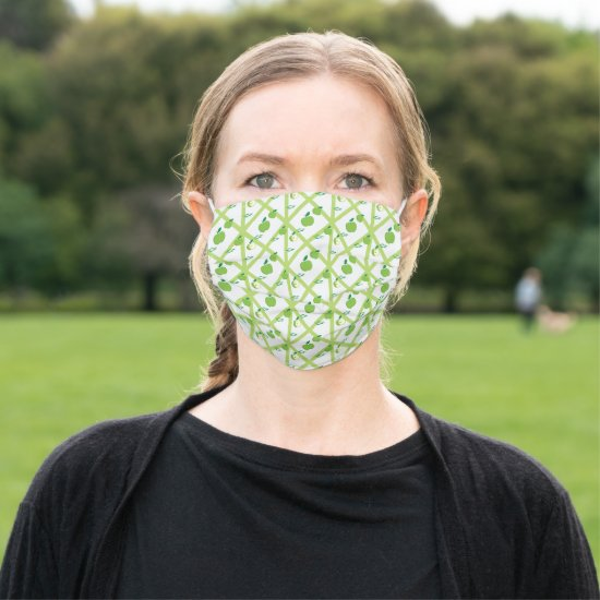 Fun Green Apples and Lattice Pattern Adult Cloth Face Mask