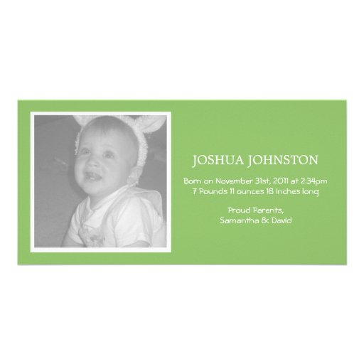 Fun Green Baby Announcements Photo Cards
