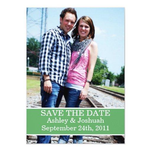 """Fun Green Design Save The Date Invites 4.5"""" X 6.25"""" Invitation Card"""
