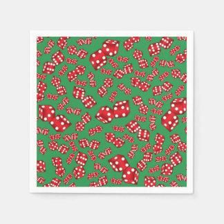 Fun green dice pattern paper napkins