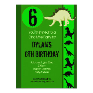 Fun Green Dinosaur Birthday Party Invitations