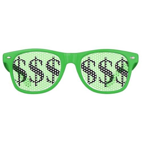 Fun Green Dollar Sign Party Retro Sunglasses