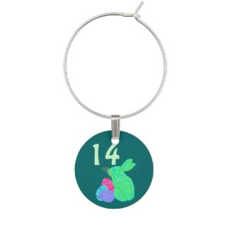 Fun Green Easter Bunny Numbered Wine Glass Jewelry Wine Charm