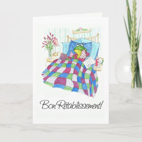 Fun green frog get well soon french greeting card zazzle fun green frog get well soon french greeting card m4hsunfo