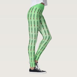 Fun Green Pickle Head Man in Brown Suit on Green Leggings