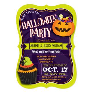 Fun Green & Purple Halloween Costume Party Card