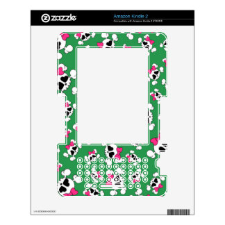 Fun green skulls and bows pattern kindle 2 decal
