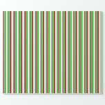 [ Thumbnail: Fun Green, White, Red Christmas Inspired Lines Wrapping Paper ]