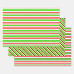 [ Thumbnail: Fun Green, White, Red Christmas Inspired Lines Wrapping Paper Sheets ]