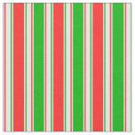 [ Thumbnail: Fun Green, White, Red Christmas-Inspired Pattern Fabric ]