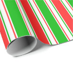 [ Thumbnail: Fun Green, White, Red Christmas-Inspired Pattern Wrapping Paper ]