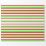 [ Thumbnail: Fun Green, White, Red Christmas Inspired Stripes Wrapping Paper ]