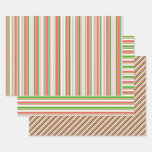 [ Thumbnail: Fun Green, White, Red Christmas-Inspired Stripes Wrapping Paper Sheets ]