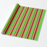 [ Thumbnail: Fun Green, White, Red Christmas Style Lines Wrapping Paper ]
