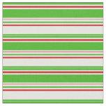 [ Thumbnail: Fun Green, White, Red Christmas Style Pattern Fabric ]